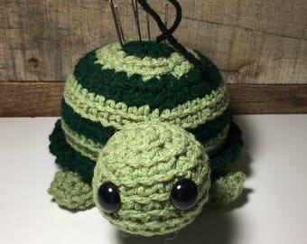 Crochet Stuffed Turtle Pin Cushion