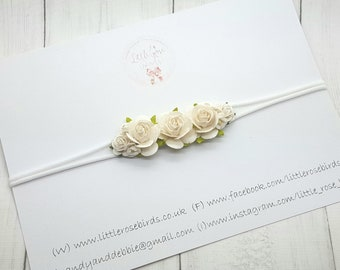 White Rose Flower Headband - Christening Headband - Photo Prop - Wedding  Hair - Baby Headband - Flower Crown - Girls Hair Accessories