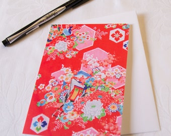 Kimono Fabric Greeting Card // Hexagons on Red