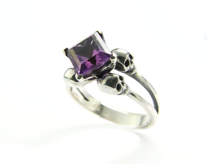 Amethyst Skull Engagement Ring with Square Purple Gemstone in Sterling Silver - All Sizes