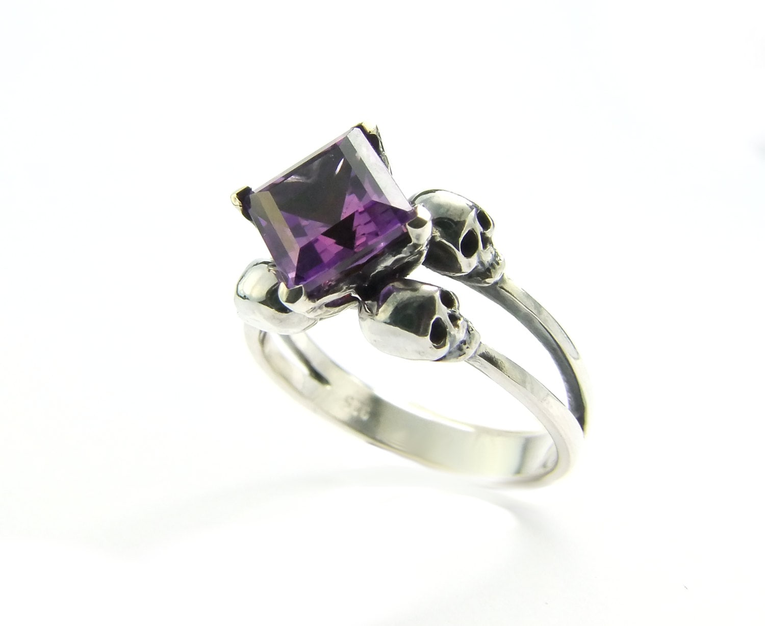 Skull Wedding Ring Memento Mori Ring Square Amethyst Sterling