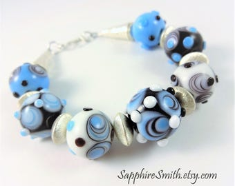 25% off OUTER LIMITS Fun Funky Contemporary Artisan Lampwork Glass & Bali Sterling Silver Bracelet, Blue Black White Modern Contemporary