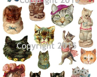 Victorian Cat Images Collage Sheet, Digital Scrapbooking, Prints, Instant Digital Download