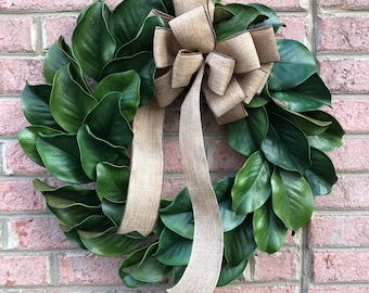 "On Sale/MAGNOLIA Wreath, Large 23-25"" Magnolia leaf door wreath, Housewarming wreath, Farmhouse wreath,wedding gift, Wreath with burlap bow"