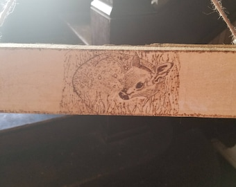 Small fawn deer pyrography sign