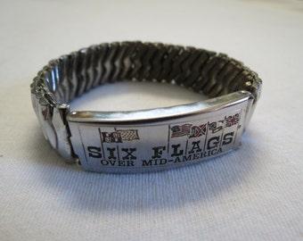 Silver Six Flags Over Mid-America Vintage Souvenir Metal Bracelet