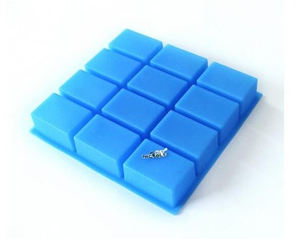 12-cavity Oblong Rectangle Bar Loaf Cake Mold Flexible Silicone Soap Mold Soap Candle Candy B0240