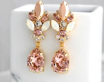 Blush Chandelier Earrings, Bridal Rose Gold Earrings, Bridal Blush Dangle Drop Earrings, Morganite Chandelier Earrings, Statement Earrings