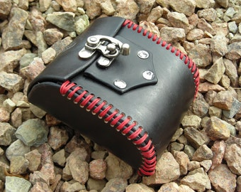 Black and Red Skull Leather LARP Costume Pouch
