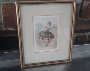 Vintage Print of a Lady in Costume in Gilt Frame