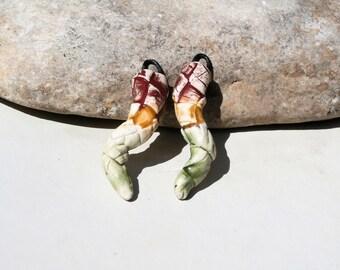 2 charms for earrings, drops, grid, boho