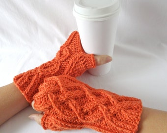 DISCONTINUED Pumpkin Merino Wool Fingerless Gloves, Orange Wool Cable Knit Hand Warmers