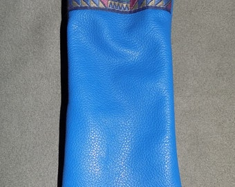 Long Royal Blue LEATHER Squeeze Pouch for Epi Pens or Eyeglasses, or