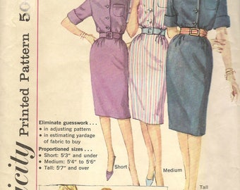Vintage Simplicity Sewing Pattern 3754 One Piece Pointed Collar Dress Size 18 Bust 38