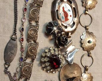 Vintage Lot of Sterling and Other Parts for Jewelry Making Findings Scrap Broken