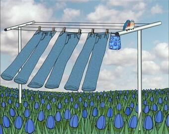 bluebirds, blue jeans, blue sky - signed digital illustration art print 8X10 inches, clothesline laundry wash room art birds tulips flowers