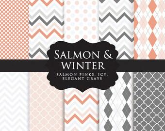Pink digital paper pack - salmon pink, gray, white, chevron, chevrons, quatrefoil, quatrefoils, polka dots, for scrapbooking