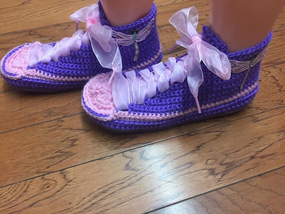 dragonfly sneakers slippers 208 shoe slippers 7 dragonfly Womens purple pink Listing dragonfly slippers Crocheted shoes 9 tennis sneaker HvXTqqP
