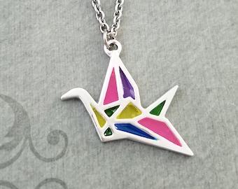 Origami Crane Necklace Paper Crane Jewelry Geometric Necklace Stained Glass Necklace Crane Charm Japanese Crane Pendant Necklace Bridesmaid