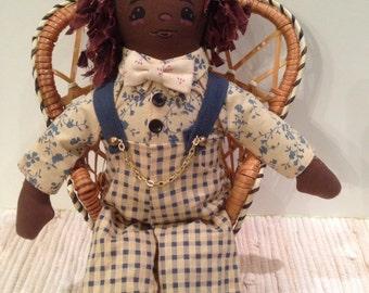 Doll,Cloth,Tender Heart Treasures Black Americana Male Doll, Collectible,Vintage,Primitive,Boy Doll,Black Americana Folk Rag Doll, Retro,