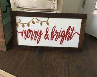 Merry and Bright framed wood sign
