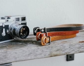 Handmade Leather Camera Strap - Antique Tan | Crimson | Black x Natural