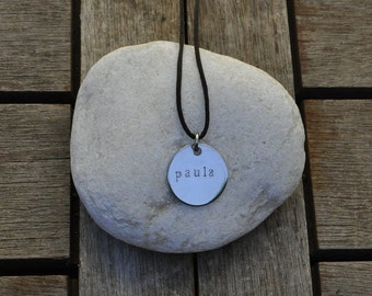 Engraved plate steel necklace