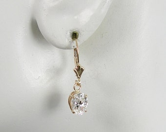 14K Solid Gold Dangle Cubic Zirconia Oval Classic Style Lever Back Drop Gemstone Earrings European Spring Back Wires  14KCZ8X6OVAL