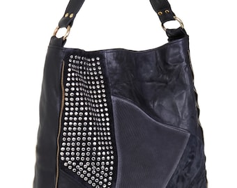 Black leather bag,Large handbag,Ladies handbag,Leather totes,Leather shoulder bag,Studded leather,Handmade leather bag,Leather hobo bag