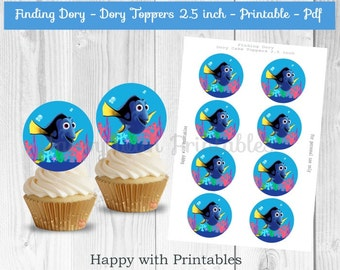 Finding Dory Cupcake Toppers - Dory cupcake toppers - Finding Dory cake toppers - Dory toppers 2.5 inch - Dory circles - Dory 2.5 inch stick