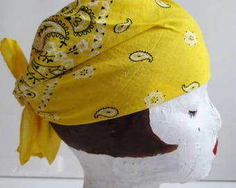Yellow bandana with white and black floral print
