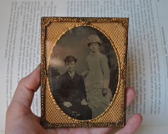 Antique Tintype Photo - 1880s Framed Tin Type Portrait Photograph