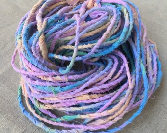Rainbow Handspun Art Yarn, Recycled Cotton Fabric Art Yarn, Corespun Cotton Yarn, Hand Dyed Multicolor Yarn