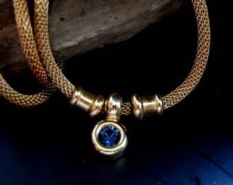 Dark Blue Crystal Necklace, Gold Necklace w Dark Blue Sapphire Crystal, Wide Goldtone Snake Chain Necklace, Vintage Blue Crystal Pendant