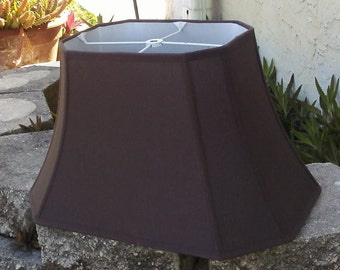 Vintage Squared Octagon Brown Lamp Shade, Lined Lamp Shade, Home Decor