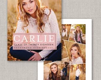 Carlie Graduation Announcement Template #28 for Photoshop: Instant Download
