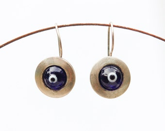 Vintage Silver Turkish Eye Pendant Earrings.