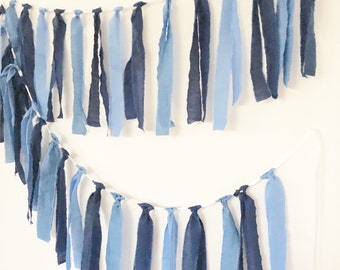 Tassel Garland, Solid Colors Fabric Banner, Navy Blue, Blue Pennants, Boy Baby Shower, Baby Nursery Decor, Birthday Party Decor