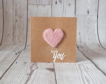 Needle Felted Heart 'Love You' Card - Greetings Card, Needle Felted, Love, Heart, Anniversary, Valentines