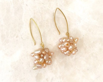 Peach and Champagne Freshwater Pearl Earrings - E282