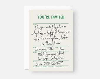 Minimalist Adoption Shower Invitation / Gay Adoption Shower Invitation / Modern Adoption Shower Invite / Coed Baby Shower, Bridal Shower