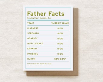 Funny Father's Day Card, Dad Birthday Card, Father's Day Gift, Funny Card for Dad, Birthday Dad, Birthday Card - Father Facts
