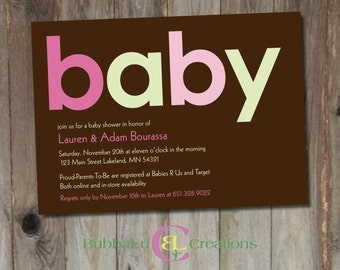 Baby Shower Invitation. Personalized Baby Shower Invite. Baby Girl. Girl Shower Invite. Pink Baby Shower. Custom Baby Shower Invitation.