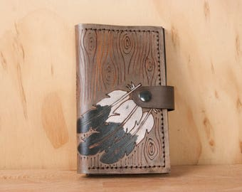 Leather Wallet - Small Womens Wallet with Coin pocket in the Emily Pattern - Feathers, Woodgrain and Heart - White and Antique Black