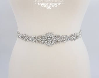 All around belt, Thin bridal belt, wedding belt, bridal sash, thin wedding belt, bridal belt, wedding dress belt, beaded bridal sash, GRACE