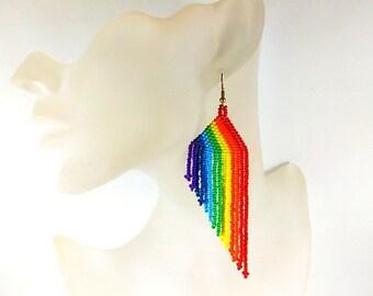 Statement Jewelry Rainbow earrings Beaded long earrings Colorful fringe dangle earrings Beadwoven earrings Seed Bbeaded earrings Fringe