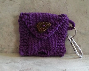 2 roll Doggy Pick-up Bag Holder Keychain Handknit Cotton Purple