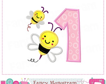 Easter Bumble bee,Number 1 applique,Birthday Number 1 applique,Easter,1,Number 1 applique,Bumble bee,1,Spring  design,My 1st birthday.-01