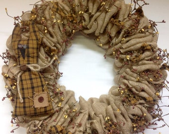 Burlap wreath with country cat/burlap and berries/spring/cat/country/primitive/burlap wreath
