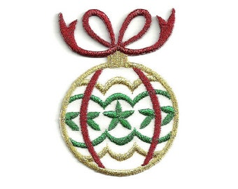 Christmas - Ornament - Embroidered In Metallics - Iron On Applique Patch (77A)